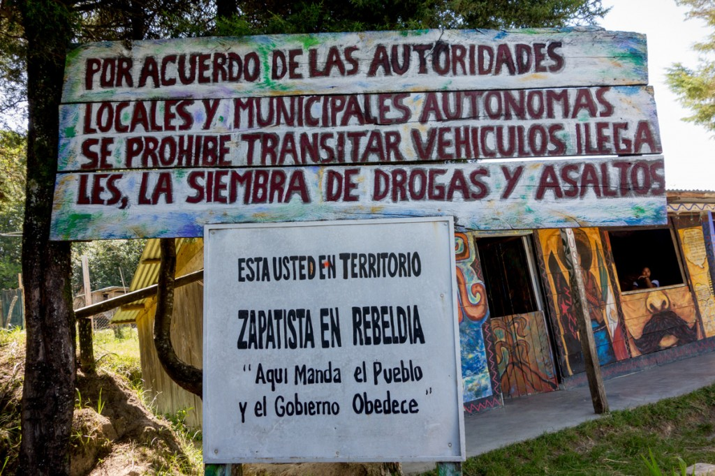 """""""You Are in Zapatista Rebel Territory,"""" Oventic, August 2013. Photograph by Lorie Novak"""