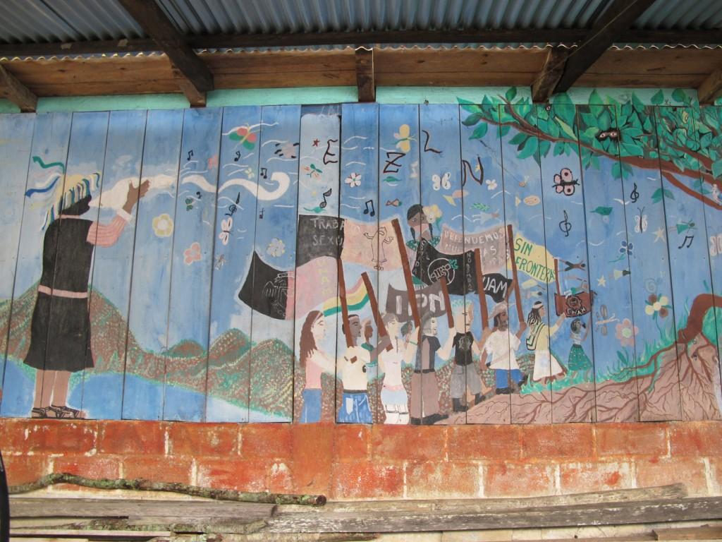 EZLN rainbow mural, Oventic, Chiapas, August 2013. Photograph by Diana Taylor