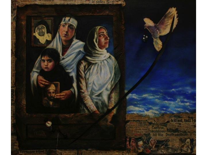 Behind the Canvas, mixed-media work, Masood Hussain, 2010