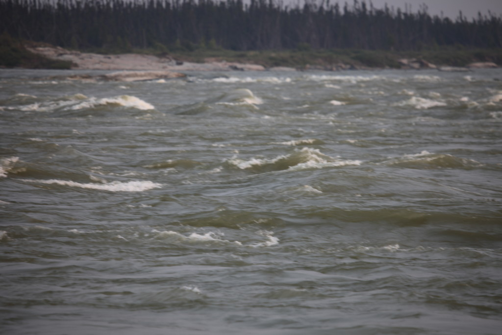 Fig. 13. The Keeyask Rapids on the Kitchi Sipi (Nelson River) in northern Manitoba. Photograph by author, with thanks to Noah Massan.
