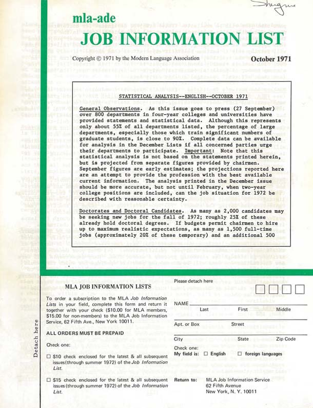 Fig. 3. Cover of the October 1971 issue of the English edition of the JIL (Modern Language Association, www.mla.org/content/download/10463/233987).