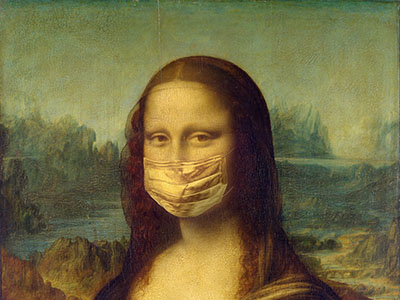 Mona Lisa wearing surgical mask