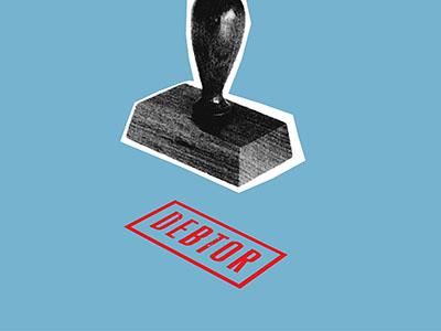 """""""Debtor"""" stamp on blue background"""