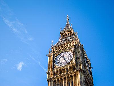 Big Ben against a blue sky