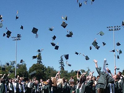 Graduates tossing mortarboards